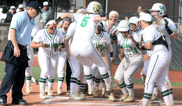 Copyright 2017; Wilmington University. All rights reserved. Photo following Meghan Brown's two-run homer to go up 6-2 against Mercy.