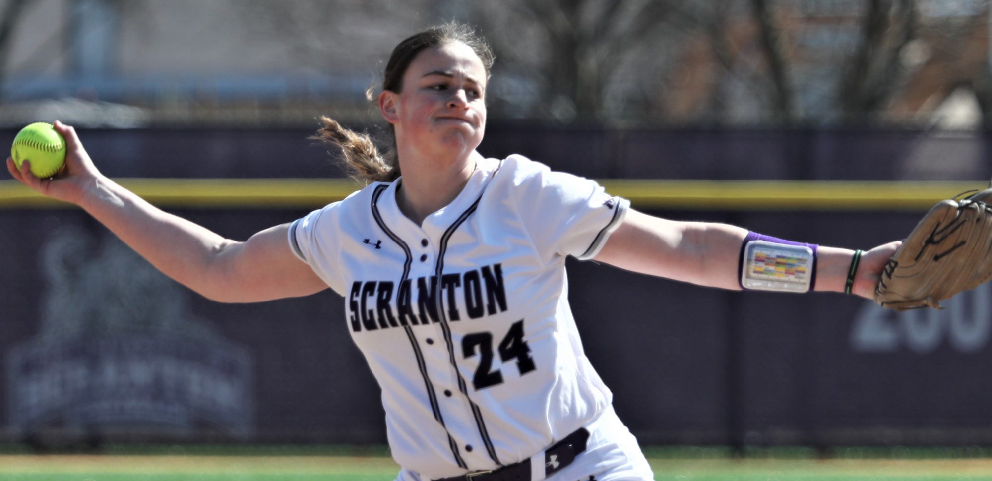 Junior Jennifer Sweeney recorded a win and a save in Scranton's season-opening sweep of NYU on Sunday to earn Landmark Conference Pitcher of the Week award honors Monday. © Photo by Timothy R. Dougherty / doubleeaglephotography.com