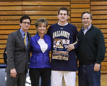 Gallaudet's Danny Kelly with his parents and Coach Stern