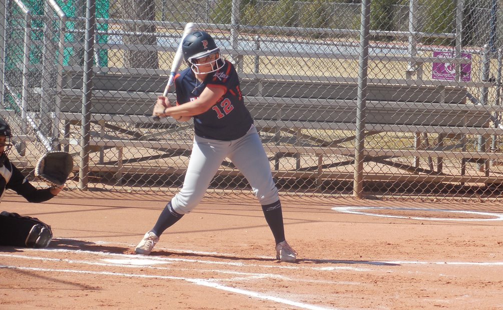 Sophomore Edith Prieto (Sunnyside HS) hit a grand slam to give the Aztecs the lead for good in the second game. She finished the day with five RBI as the softball team took two games at Glendale Community College. The Aztecs have won 10 of their last 12 and are now 19-7 overall and 12-6 in ACCAC conference play. Photo by Raymond Suarez