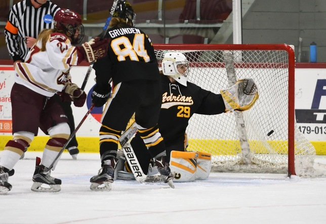 Women's hockey action vs. Adrian