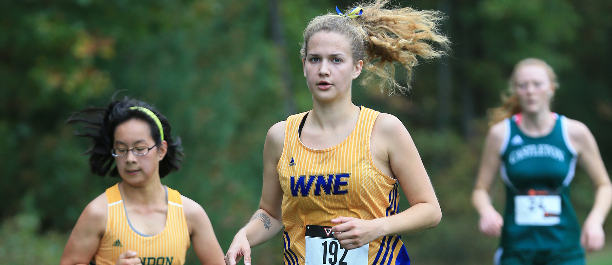 Ashley Benedict finished 16th overall as Western New England captured the Elms Blazer Classic on Saturday. (Photo by Doug Steinbock)