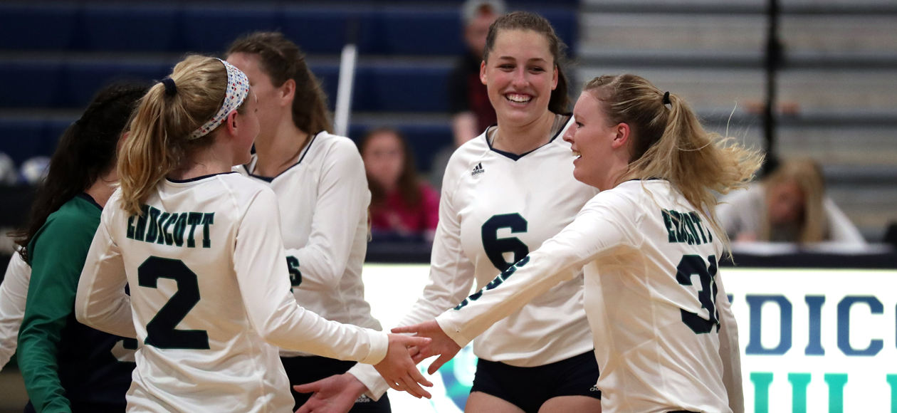 The women's volleyball team celebrates after winning a point.
