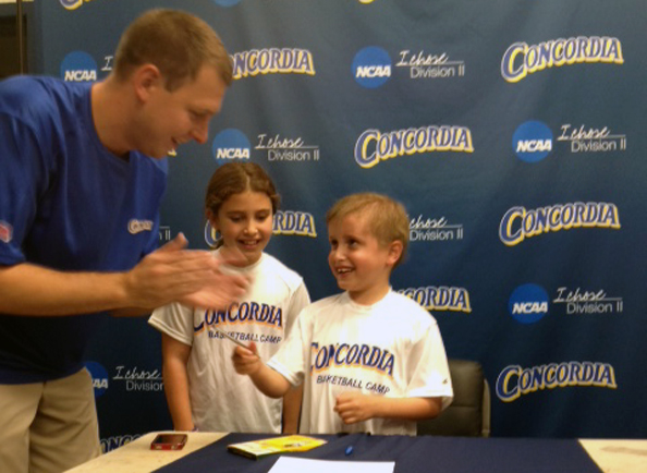 Concordia Men's Basketball Introduces Six-Year Old Eli as Newest Signee