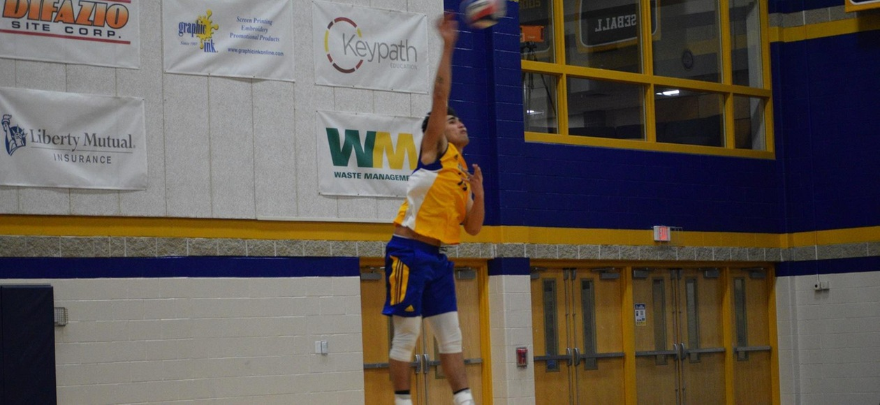 Men's Volleyball Splits with Mustangs and Leopards