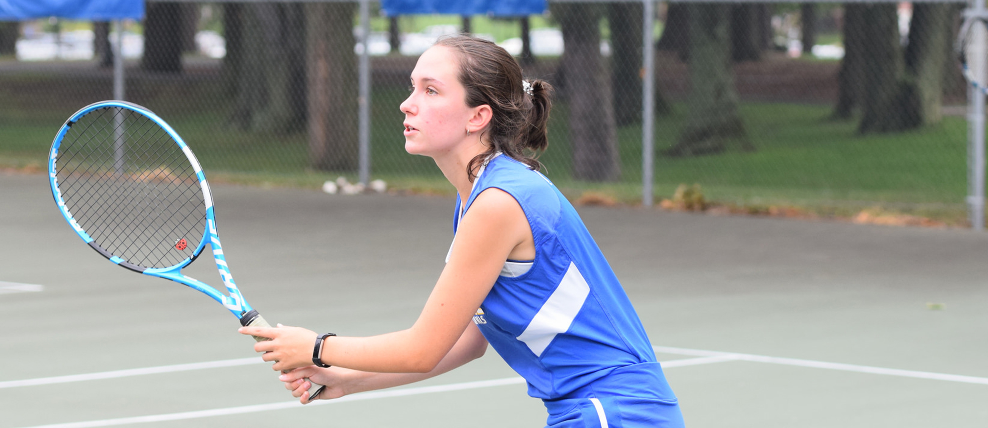 Freshman Janet Martinelli picked up a 6-0 win at No. 5 singles in Western New England's 9-0 victory over Wentworth on Friday. (Photo by Rachael Margossian)