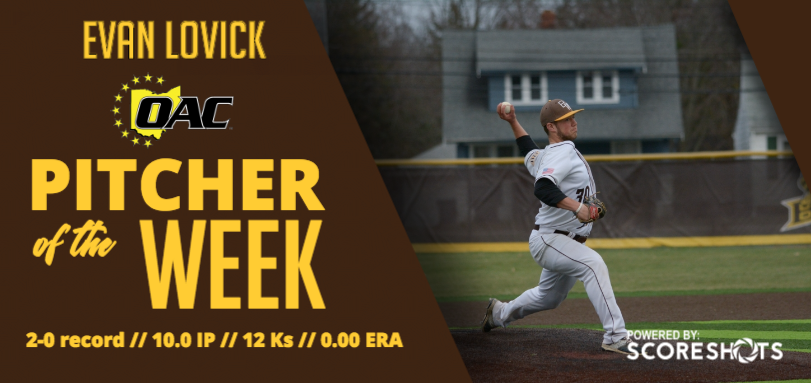 Lovick Earns Third Career OAC Pitcher of the Week Accolade