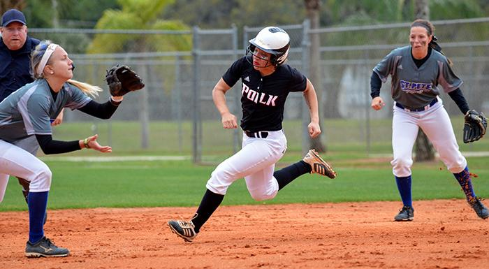 Rose Stevens steals second in the first inning of Polk State's 4-2 win over St. Pete College.