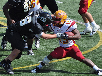 FSU's Dwayne Williams fights for yardage at Ohio Dominican (Photo by Rob Bentley)