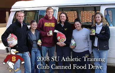 SU athletic trainers donate food to needy