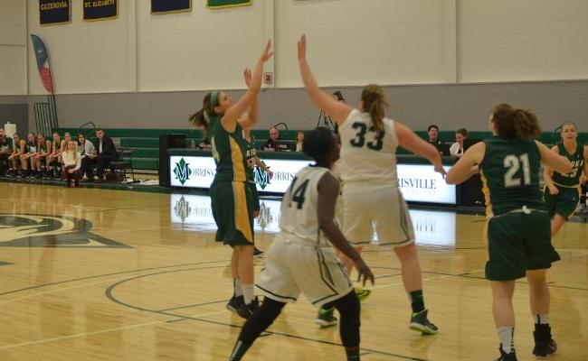 Samantha Blum and the Keuka College women's basketball team suffered a 63-57 defeat at Morrisville State Wednesday afternoon.