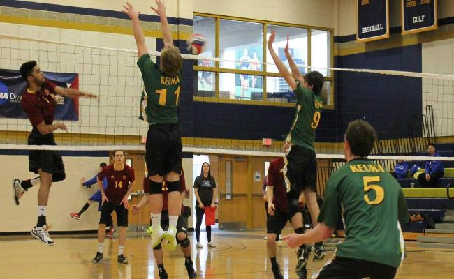 The Keuka College men's volleyball team dropped a pair of matches during Saturday's SUNYIT Invitational (photo courtesy of Jill Nolan, Keuka College Sports Information Department).