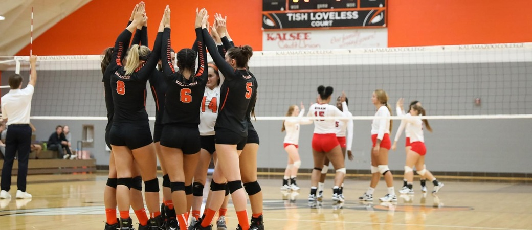 The Kalamazoo College volleyball team.