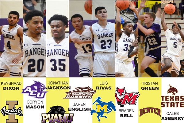 Eight Ranger men's hoops players sign