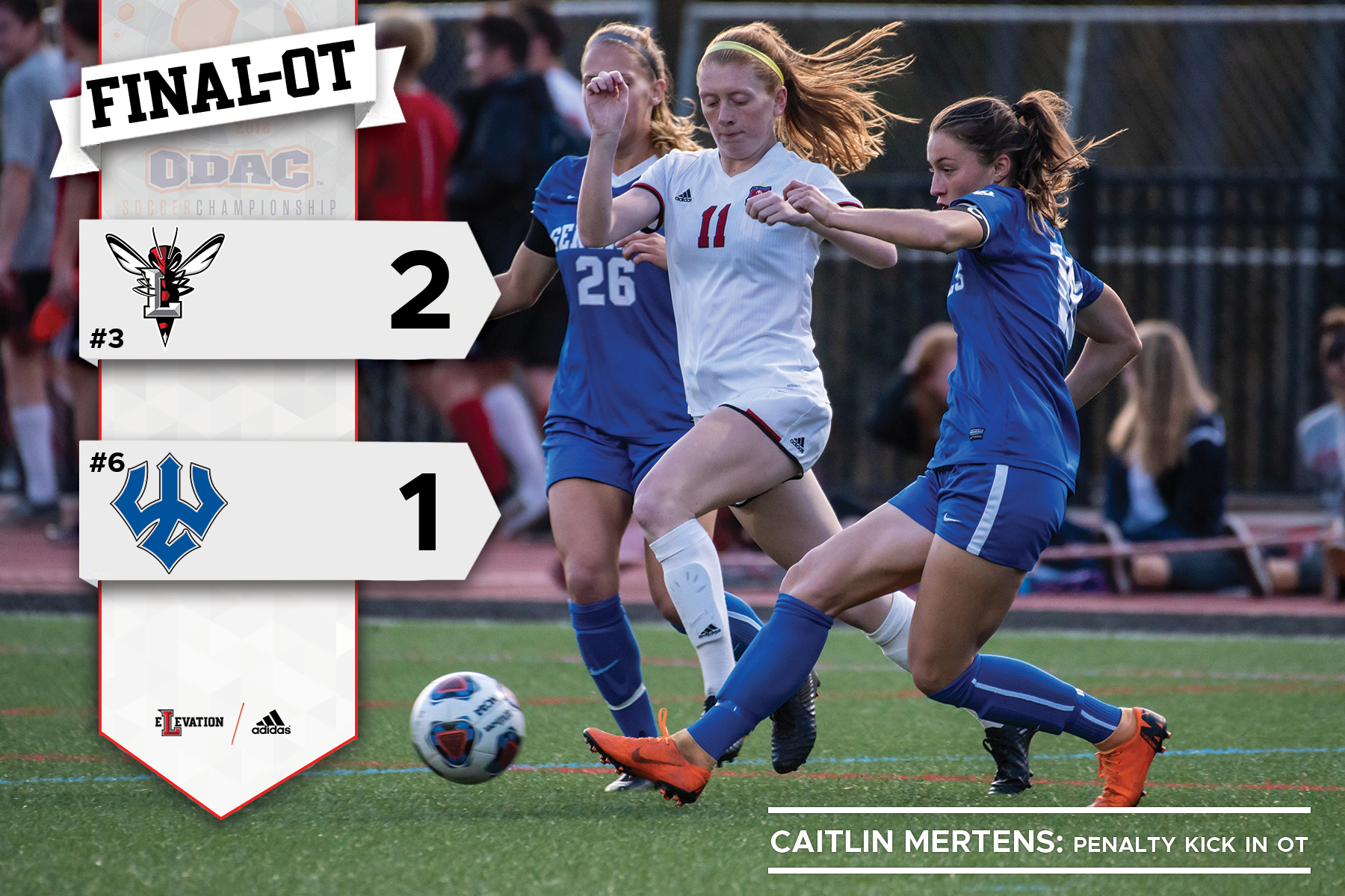 Caitlin Mertens playing soccer defended by two W&L players. Graphic showing 2-1 final score and team logos.