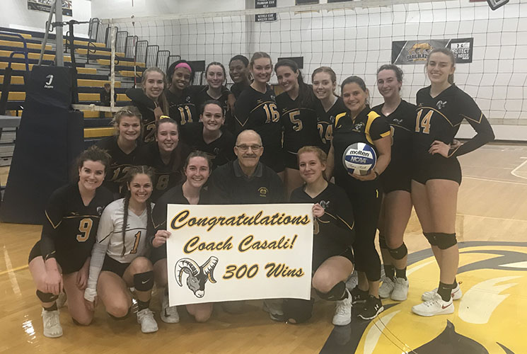 Casali Earns 300th Victory as Volleyball Defeats MCLA 3-2