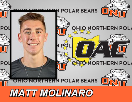 Sophomore Matt Molinaro leads Ohio Northern Men's Track & Field to a 2nd place finish at the OAC Indoor Championships