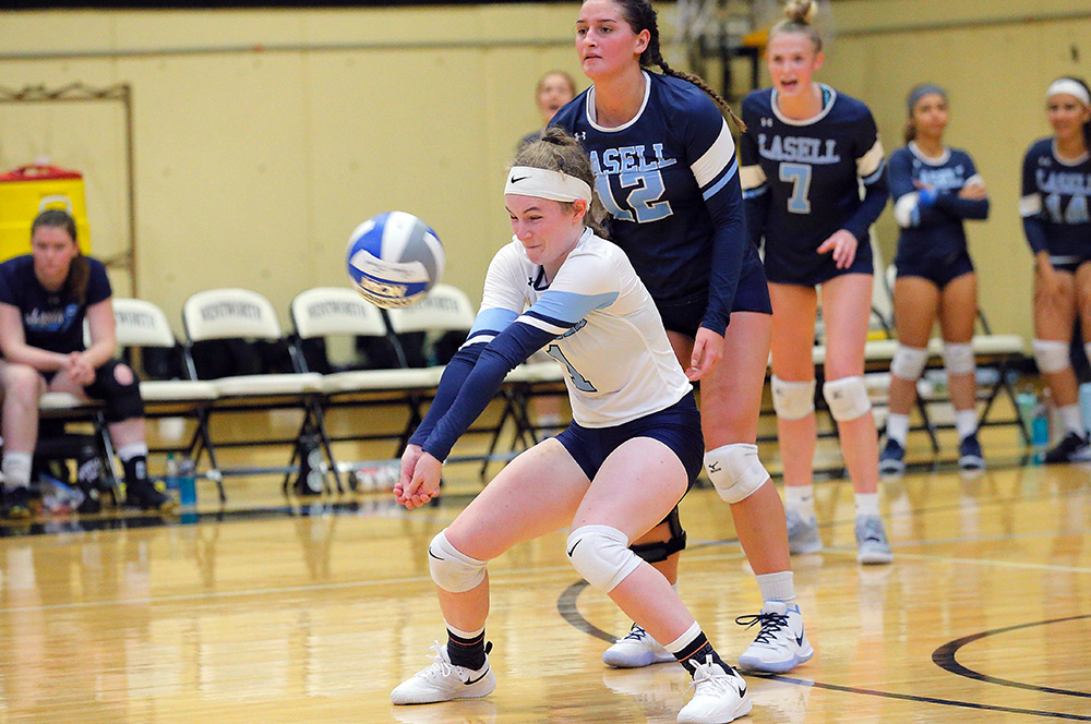 WVB: Lasell splits GNAC tri-match; Lasers down Regis after loss to Simmons