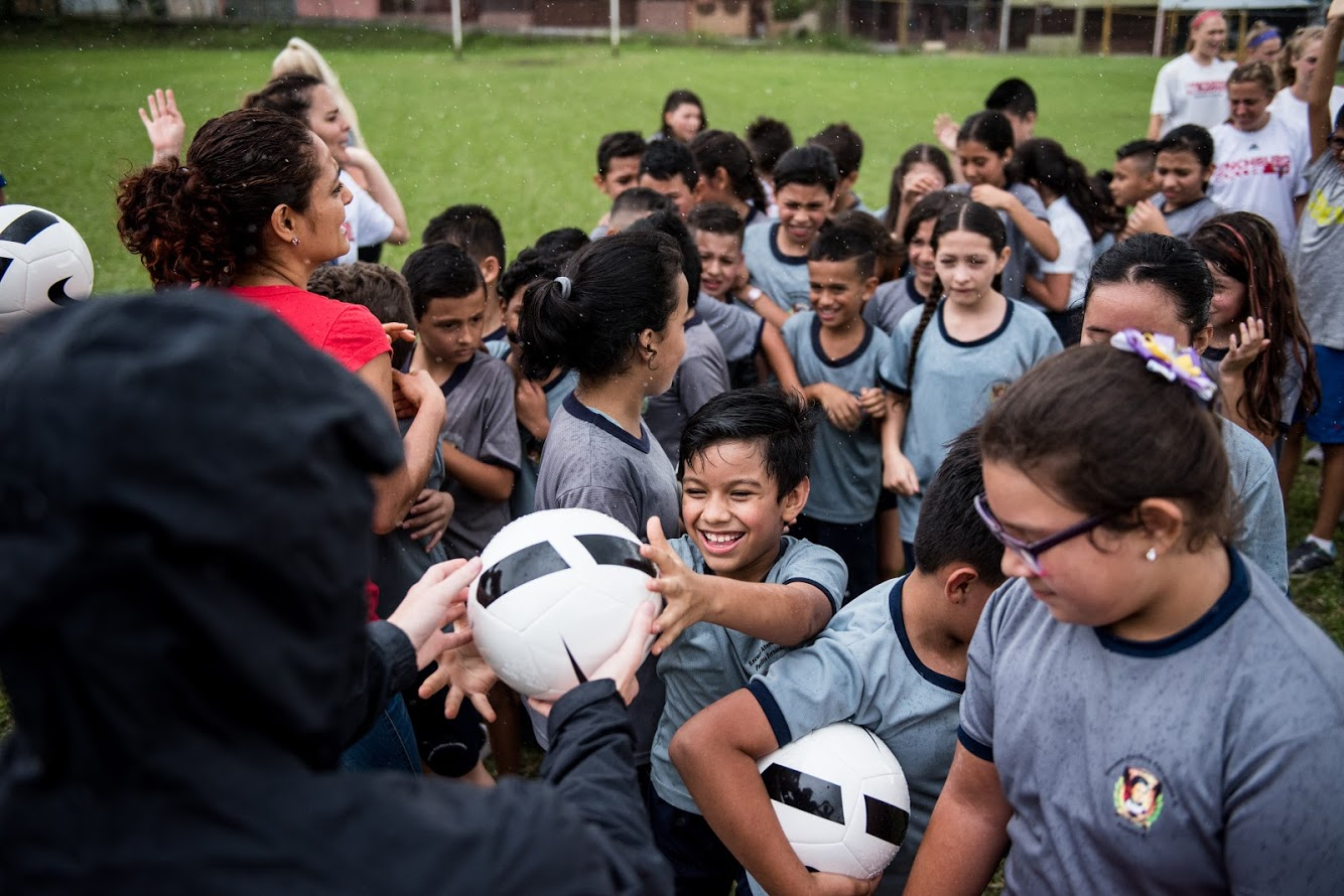 Photo of boys playing soccer at a clinic in Costa Rica