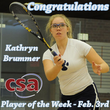 Brummer Honored as College Squash Player of the Week