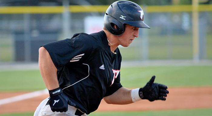 JD Osborne had a single, a double, and an RBI against Indian River. (Photo by Tom Hagerty, Polk State.)