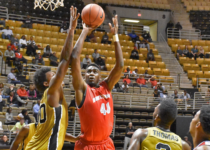 Brandon McLean recorded a double-double against Wilmington with 11 points and 11 rebounds. (Photo by Wesley Lyle)