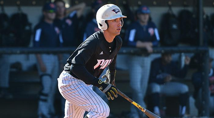 Chase Ashby went 4-for-4 with two doubles, three runs, three RBI, a walk, and a stolen base against Florida Southern JV. (Photo by Tom Hagerty, Polk State.)