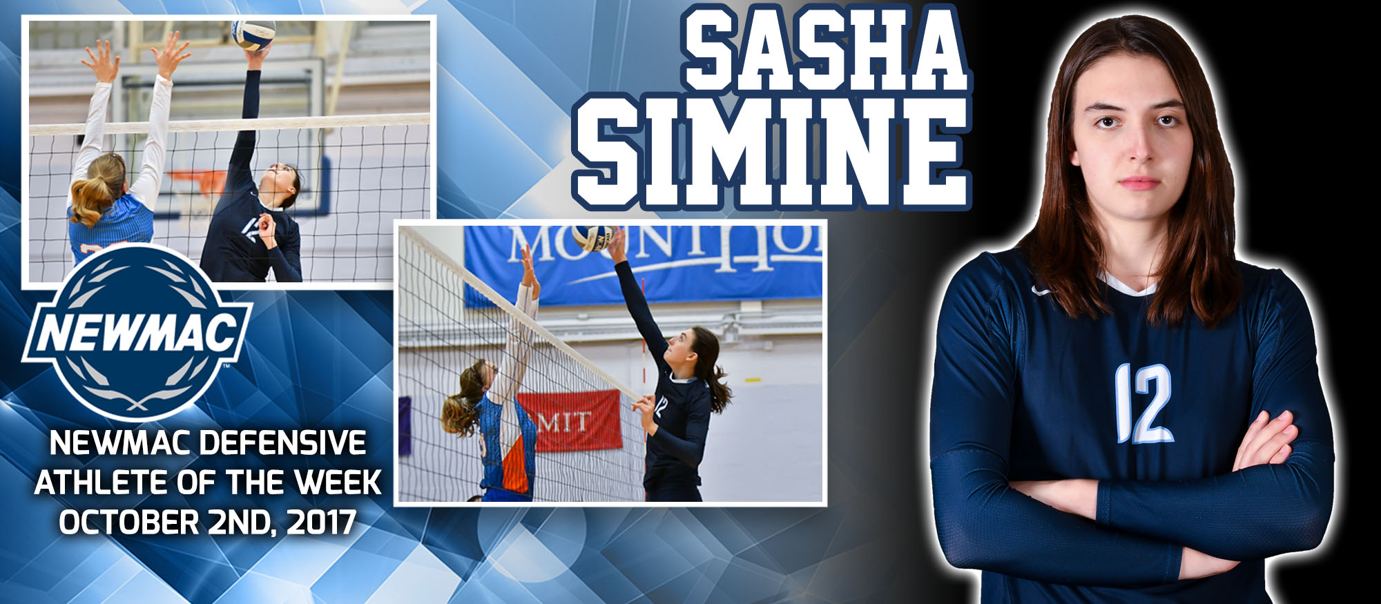 Sasha Simine Defensive Athlete of the Week graphic
