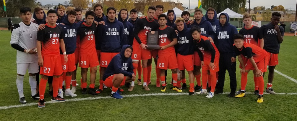 The Pima men's soccer team earned third place at the NJCAA Division I National Tournament. The Aztecs fell to Schoolcraft College 4-2 in Friday's semifinal game. The Aztecs finished the season at 19-5-3 overall. Photo by Raymond Suarez