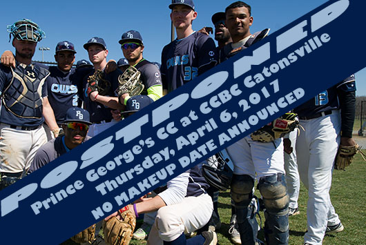 Prince George's Baseball Contest At CCBC Catonsville Postponed Due To Inclement Weather