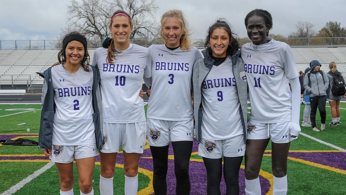 The Bruin seniors from left to right, Jennifer Romero, Maria Tome Flores, Laura Cook, Reyvin Hernandez, and Maiwut Dar, were honored on Senior Day.