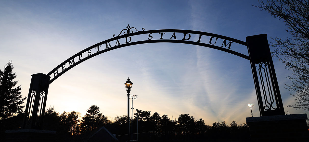 Photo of the Hempstead Stadium arch.