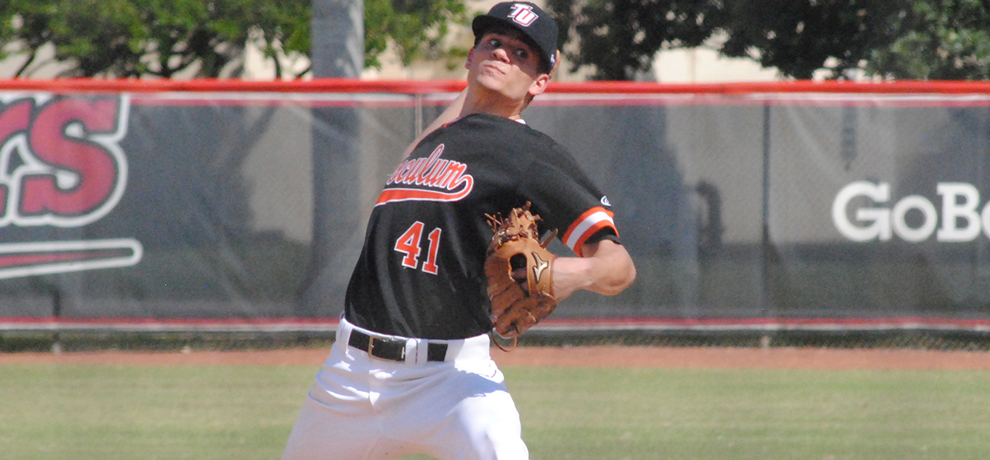 Tusculum's Charles Hall recorded a career-best 16 strikeouts as TU loses 5-3 at Belmont Abbey (photo by Steve Lloyd)