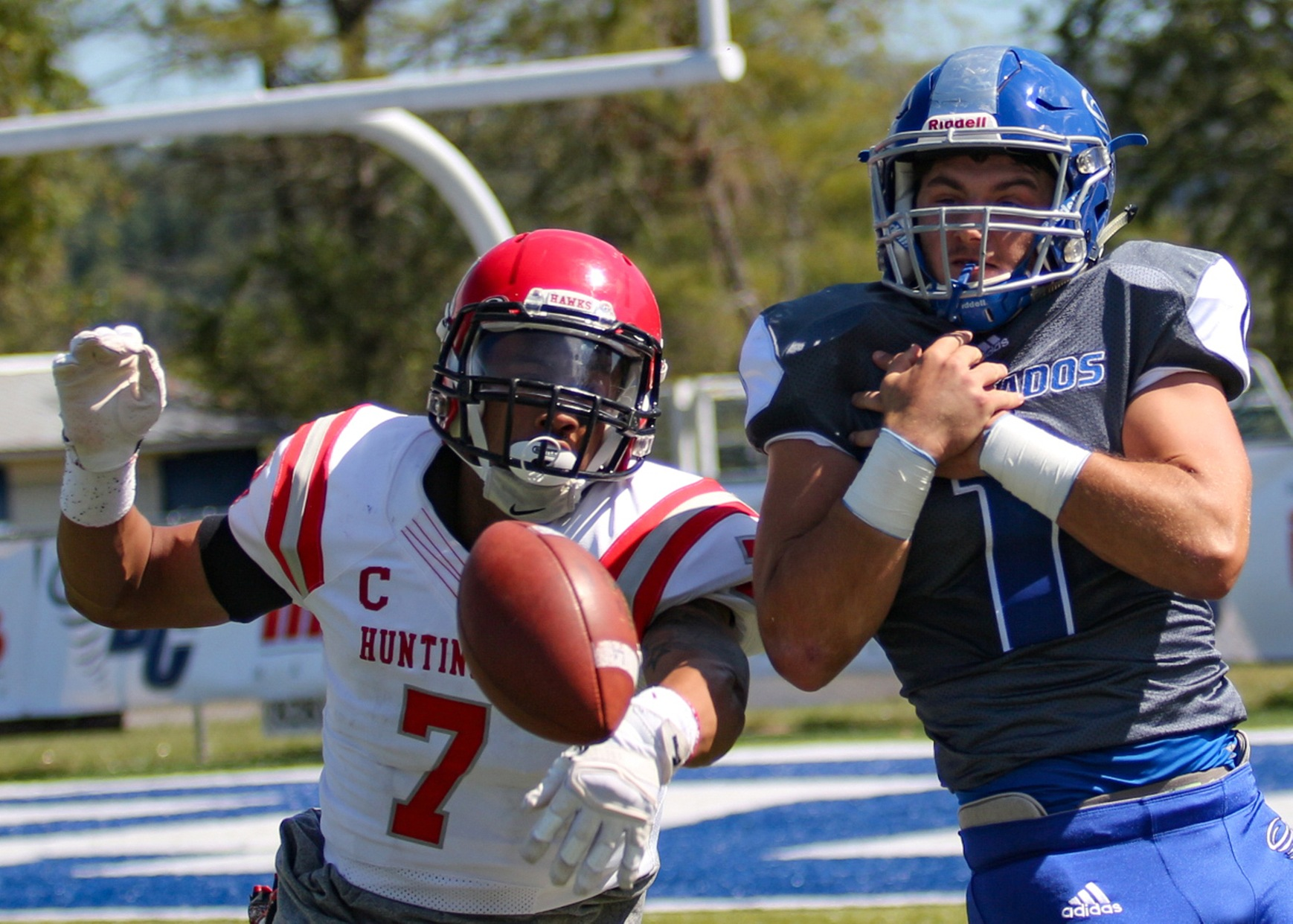 Anthony Wood and the Huntingdon defense held Brevard College to 275 yards of offense and 10 points in Saturday's win. (Photo by Carrie Bump)