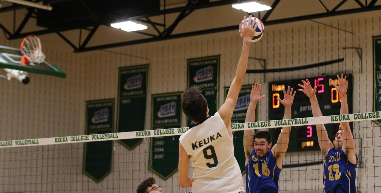 Marcus Davic (9) had 10 kills for Keuka College on Saturday -- Photo by McKenzie Erne '21