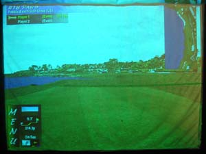 Photo of golf simulator screen when in use.