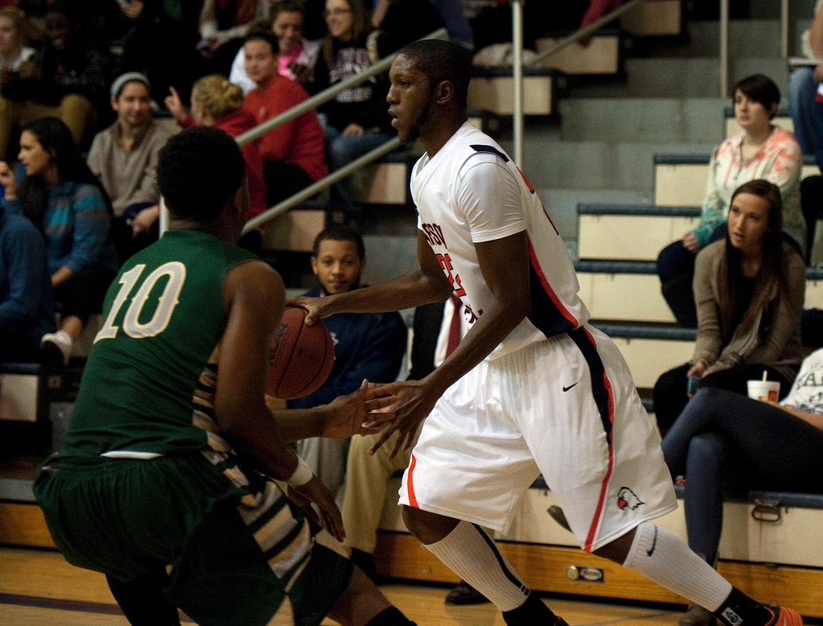 Carson-Newman All-American Antoine Davis handles the ball for the Eagles against Lees-McRae in a 98-70 win over the Bobcats during the 2013-14 season.