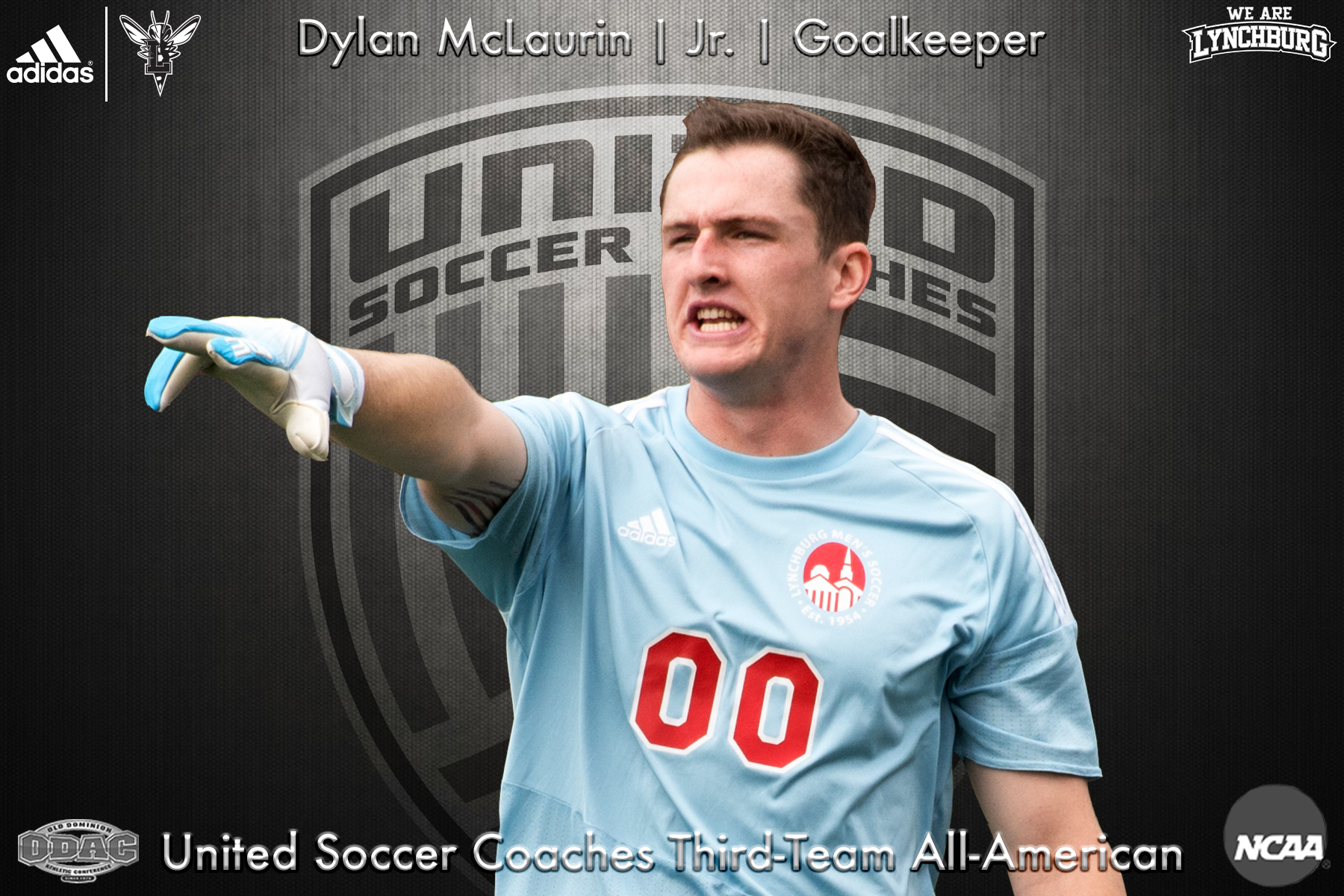 Dylan McLaurin points to direct the defense. Graphic: Dylan McLaruin, junior, goalkeeper; United Soccer Coaches Third-Team All-American