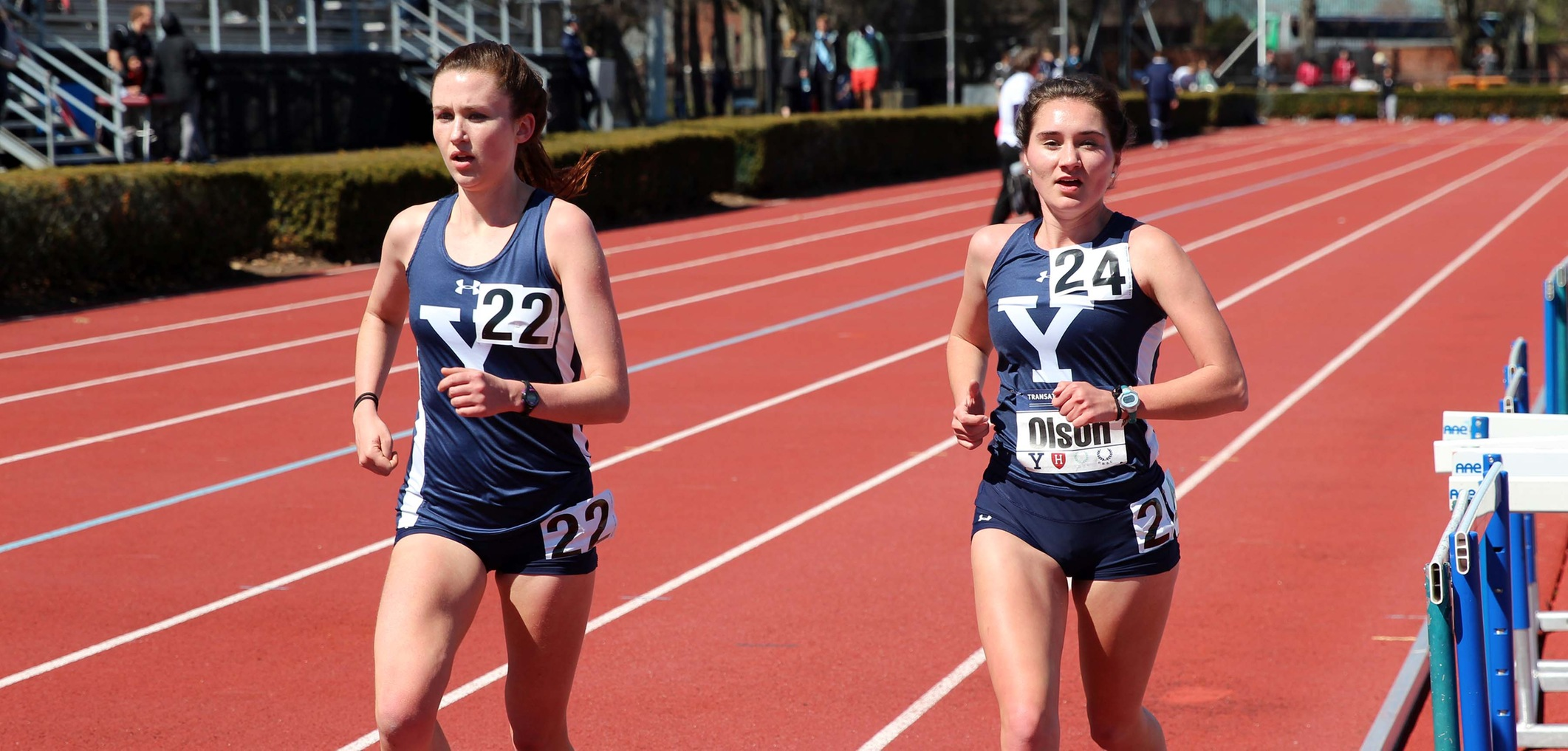 Emily Barnes (left) and Chandler Olson (right). (photo by Greg Sohanchyk, Yale Sports Publicity)
