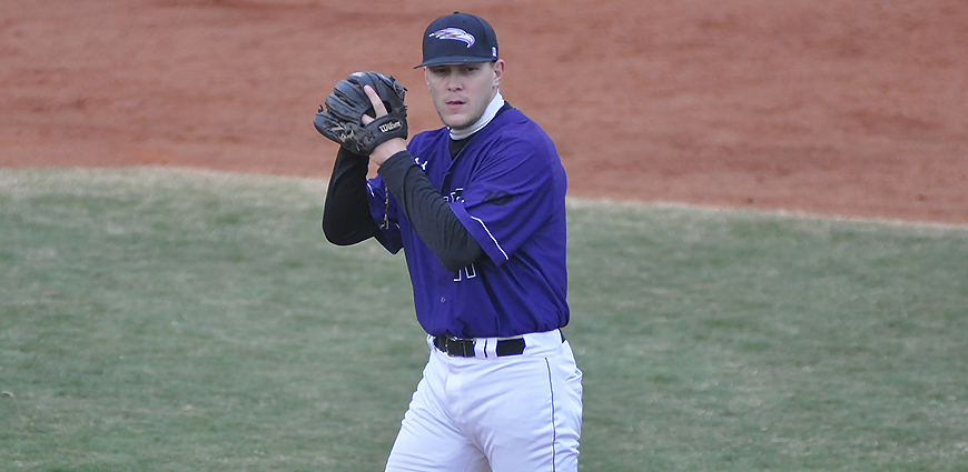 The Eagles split a twinbill against Harding University.