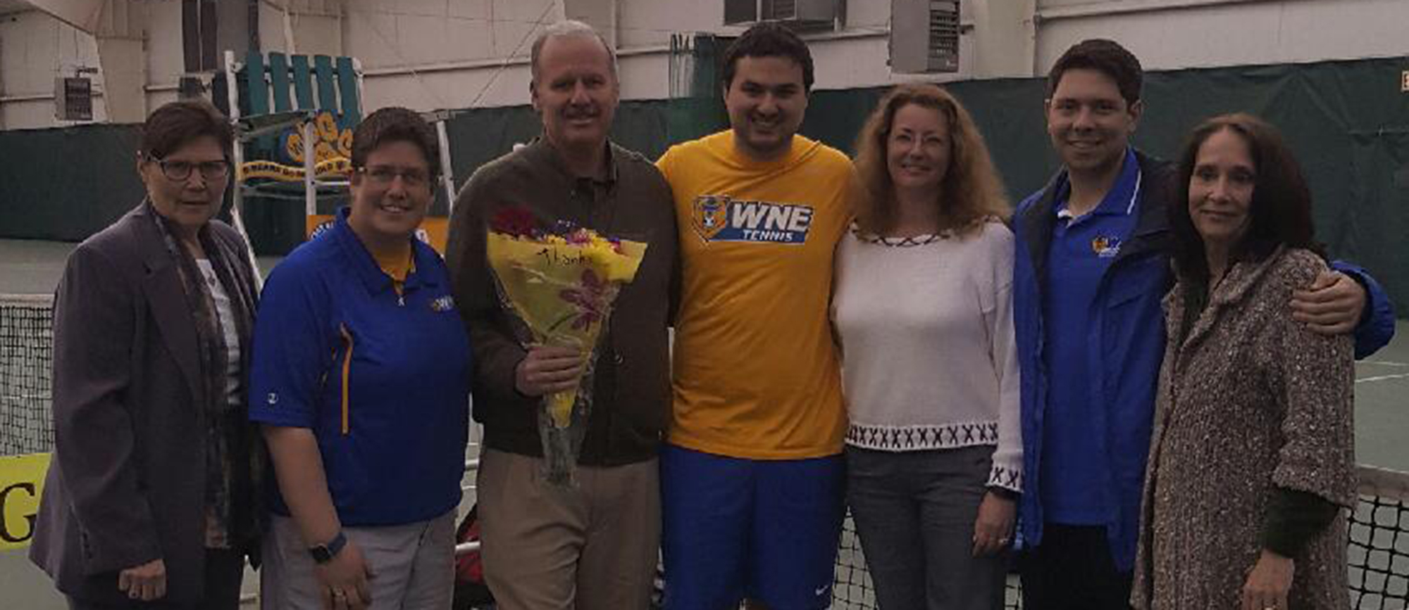 Western New England honored senior Brian Grohe (middle) prior to the start of Tuesday's match.