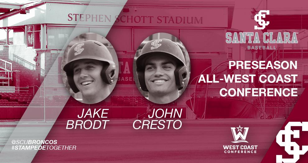 Baseball's Brodt and Cresto Picked Preseason All-WCC