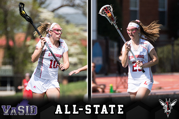 Photos of Dorrie MacGregor and Rachel Henderson playing lacrosse. Text: VaSID All-State. Hornet logo.