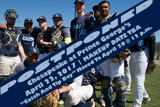 "Prince George's Baseball Doubleheader Against Chesapeake Postponed; ""Catch And Tip Day"" Moved To April 29"
