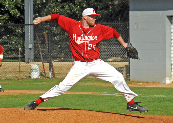 Jackson Cruce, shown here last season, picked up the win in Friday's 10-7 season-opening win over North Carolina Wesleyan. In six innings of work, Cruce struck out six, walked three and allowed two earned runs on four hits. (Photo by Wesley Lyle)