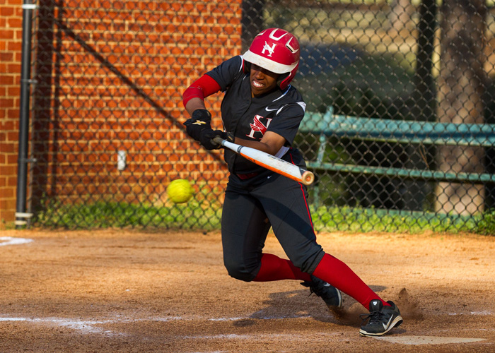 Leadoff batter Daisha Henderson was 7-for-9 with three runs, a RBI and three stolen bases in Tuesday's 6-1 and 13-9 sweep of Agnes Scott. (Photo by Christopher Morgan)
