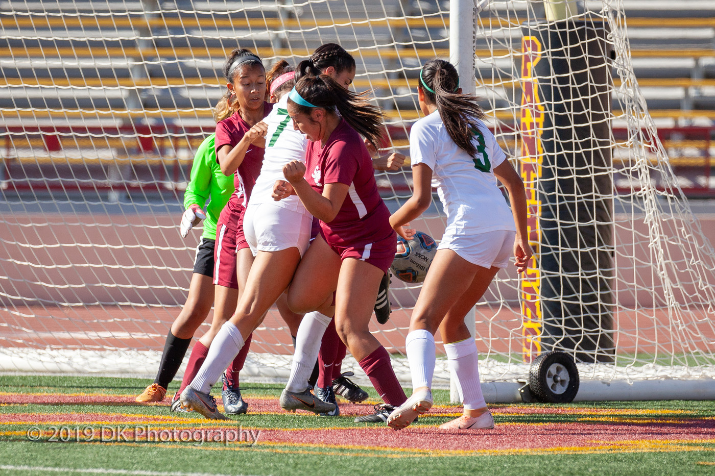 Alexa Guerrero (#9), City College freshman kicks the ball away from the goal during the match against Diablo Valley College at Hughes Stadium on Oct. 18th.