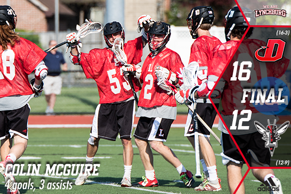Lynchburg men's lacrosse players celebrate a goal in a 16-12 NCAA tournament loss to Dickinson.
