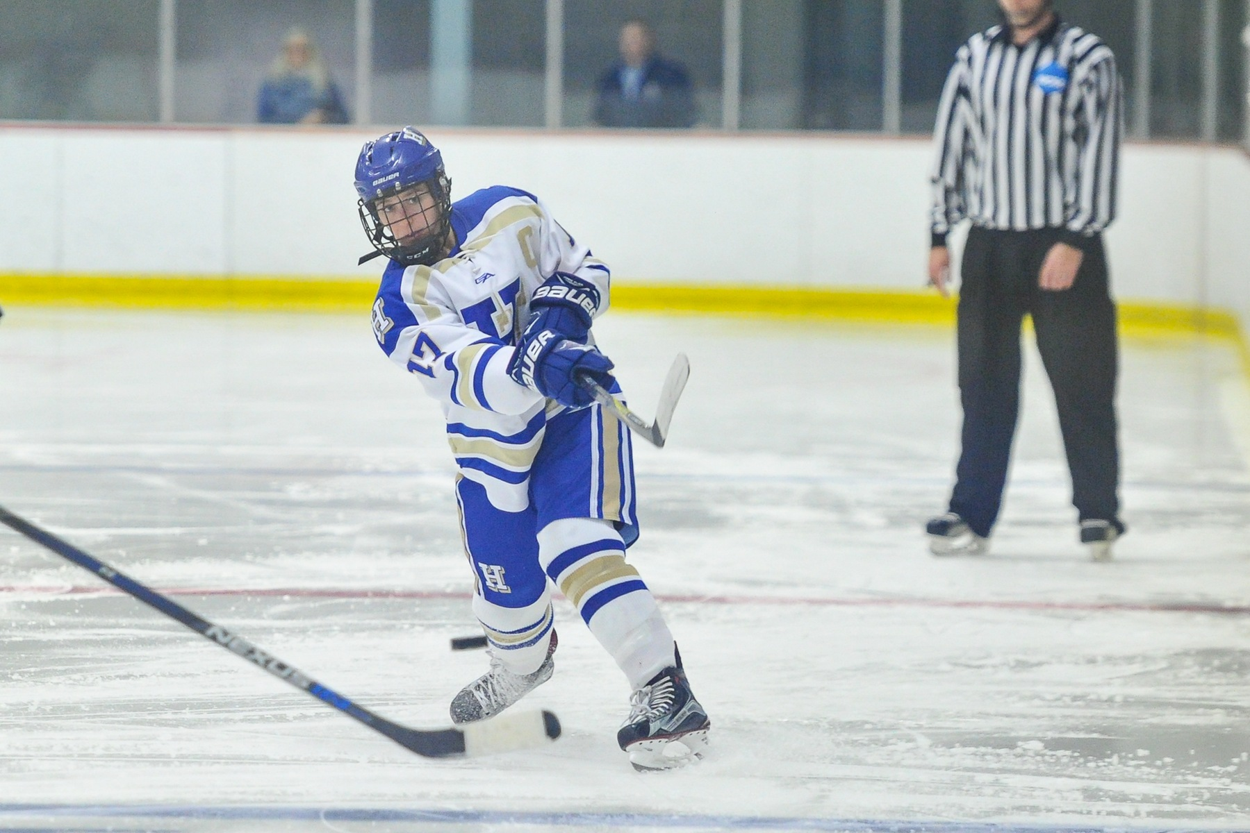 Captain Caroline Knop '18 scored her fourth career goal against Plymouth State (Josh McKee photo).