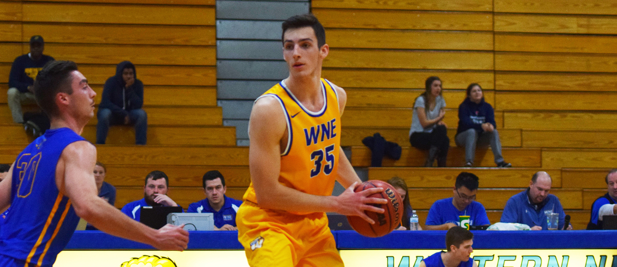 Freshman forward Zach Tavitian posted his first career 20-point game in Western New England's 82-75 loss to Salve Regina on Saturday (photo by Rachael Margossian).